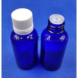 Синий флакон стеклянный 30 мл с капельницей и крышкой, 18, КИТ, (код 3040)