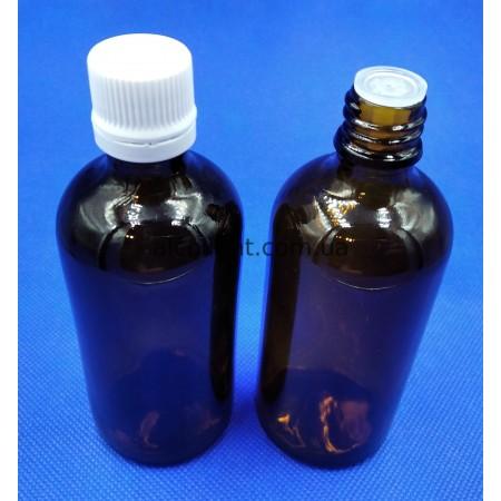 Бутылочка стеклянная 100 мл с капельницей и крышкой, 18 мм, МЗ, (код 4019)